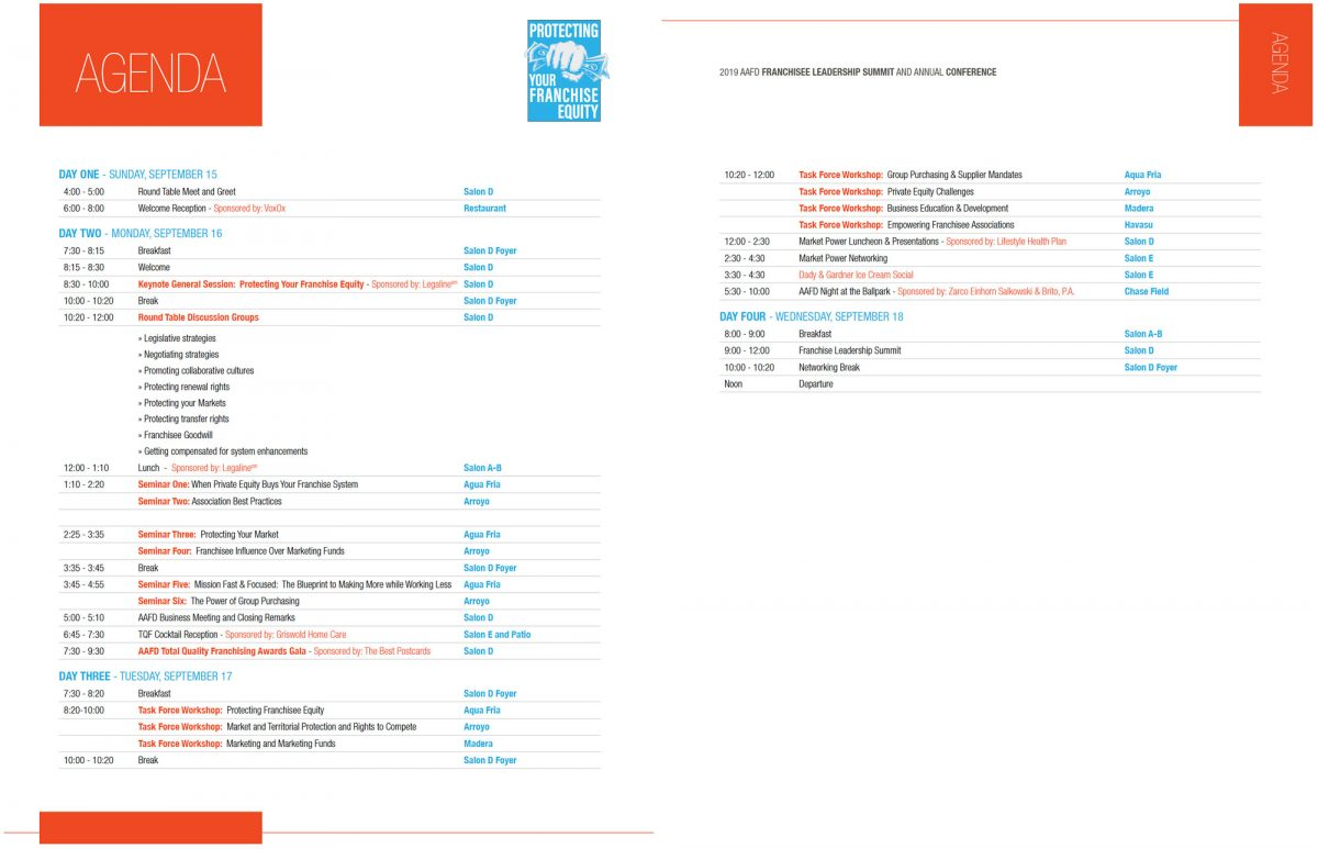 Click on Image to Enlarge - 2019 Conference Agenda